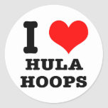 I HEART (LOVE) HULA HOOPS CLASSIC ROUND STICKER