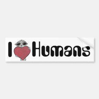 I Heart Love Humans Alien Bumper Sticker