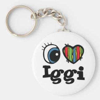 I Heart (Love) Iggi Basic Round Button Keychain