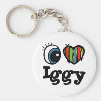 I Heart (Love) Iggy Basic Round Button Keychain