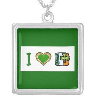 I Heart (Love) Ireland Square Pendant Necklace