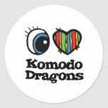I Heart (Love) Komodo Dragons Round Stickers