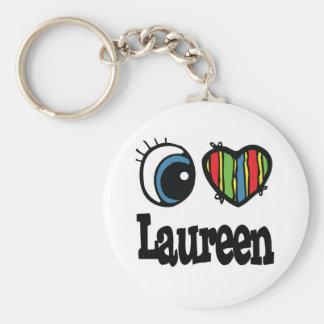 I Heart (Love) Laureen Basic Round Button Keychain