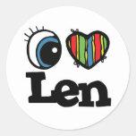 I Heart (Love) Len Classic Round Sticker