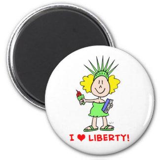I heart love liberty libbie statue 2 inch round magnet
