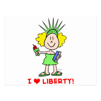 I heart love liberty libbie statue postcard
