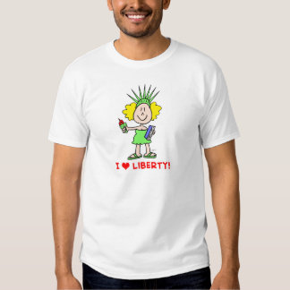 I heart love liberty libbie statue t-shirt