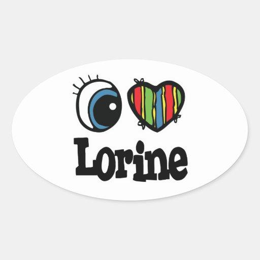 I Heart (Love) Lorine Oval Sticker