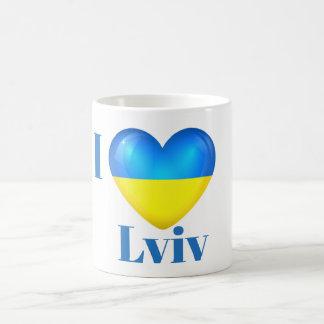 I Heart Love Lviv Ukraine Flag Mug