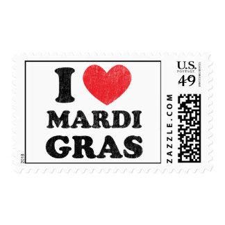 I Heart (love) Mardi Gras Postage Stamps