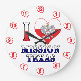 I Heart Love Mission Texas Large Clock