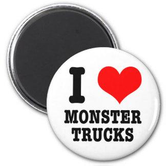 I HEART (LOVE) monster trucks 2 Inch Round Magnet