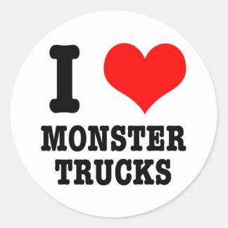 I HEART (LOVE) monster trucks Round Sticker