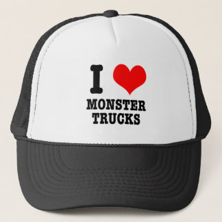 I HEART (LOVE) monster trucks Trucker Hat