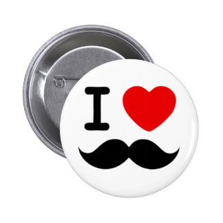I heart / Love Moustaches / Mustaches 2 Inch Round Button