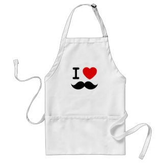 I heart / Love Moustaches / Mustaches Adult Apron