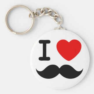 I heart / Love Moustaches / Mustaches Basic Round Button Keychain
