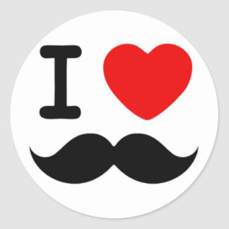 I heart / Love Moustaches / Mustaches Classic Round Sticker