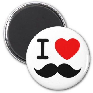 I heart / Love Moustaches / Mustaches 2 Inch Round Magnet