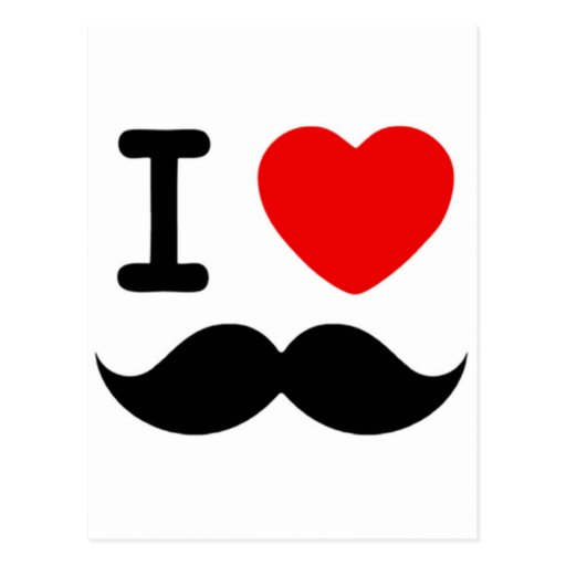 I heart / Love Moustaches / Mustaches Postcard