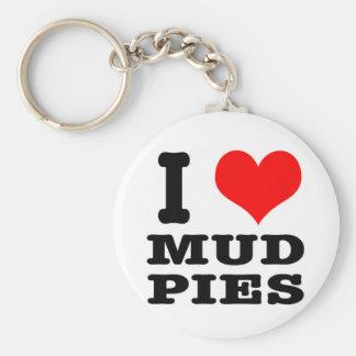I HEART (LOVE) mud pies Basic Round Button Keychain