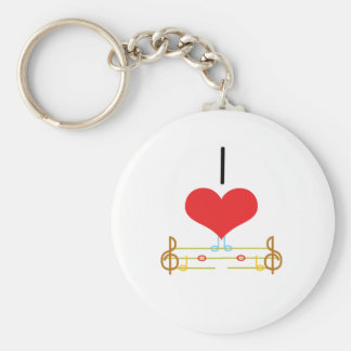 I Heart (Love) Music Notes Keychain