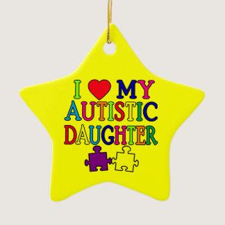I Heart (Love) My Autistic Daughter Ceramic Ornament