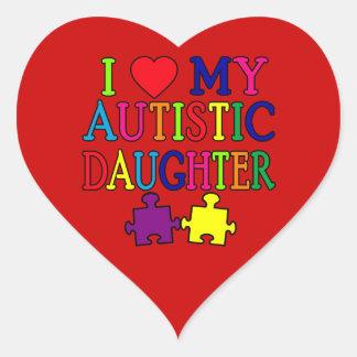 I Heart (Love) My Autistic Daughter Heart Sticker