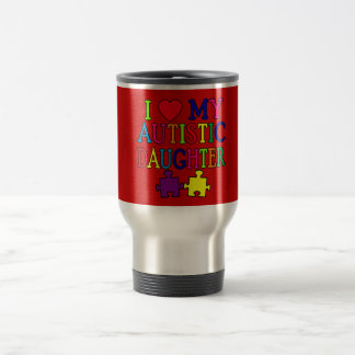 I Heart (Love) My Autistic Daughter 15 Oz Stainless Steel Travel Mug