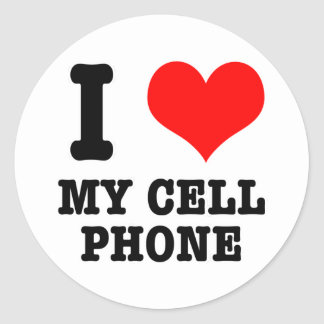 I HEART (LOVE) my cell phone Classic Round Sticker
