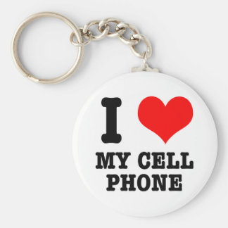 I HEART (LOVE) my cell phone Basic Round Button Keychain