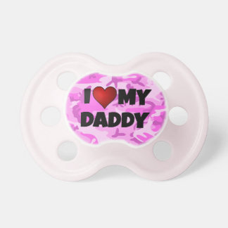 I (heart) Love My Daddy Pink Camouflage Pacifier