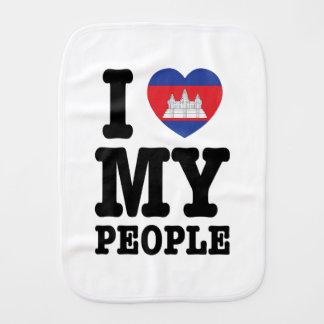 I Heart (Love) My Khmer People Baby Burp Cloth