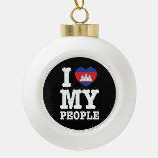 I Heart (Love) My Khmer People Ceramic Ball Christmas Ornament