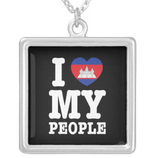 I Heart (Love) My Khmer People Silver Plated Necklace