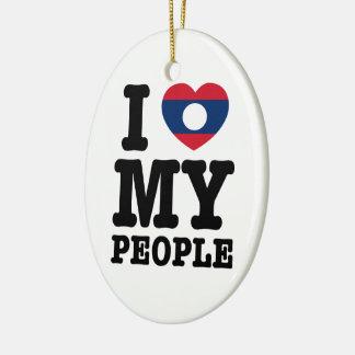 I Heart (Love) My Lao People Ceramic Ornament