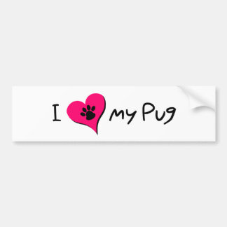 I [heart] Love my Pug Bumper Sticker