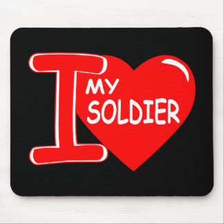 I Heart Love My Soldier Black Mouse Pad