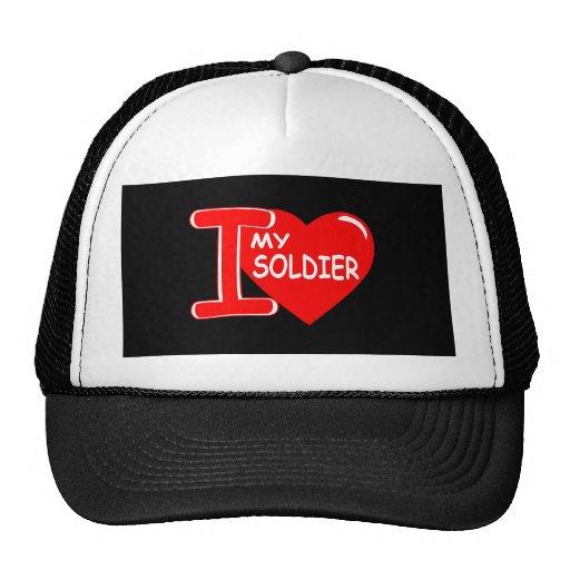 I Heart Love My Soldier Black Trucker Hat