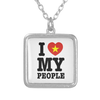 I Heart (Love) My Viet People Square Pendant Necklace