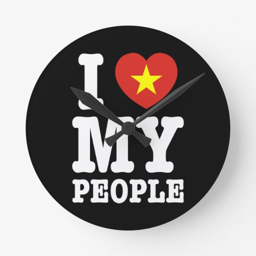 I Heart (Love) My Viet People Wall Clocks
