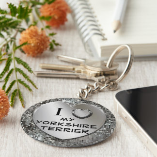 I Heart (Love) My Yorkshire Terrier Keychain
