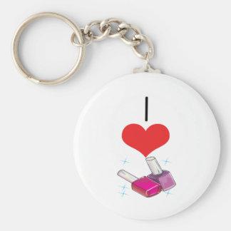 I Heart (Love) Nail Polish  Basic Round Button Keychain