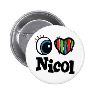 I Heart (Love) Nicol 2 Inch Round Button