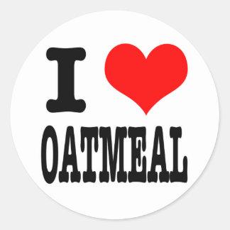 I HEART (LOVE) OATMEAL CLASSIC ROUND STICKER