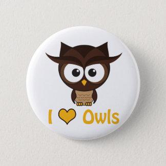 I heart (love) owls pinback button