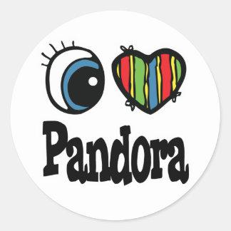 I Heart (Love) Pandora Classic Round Sticker