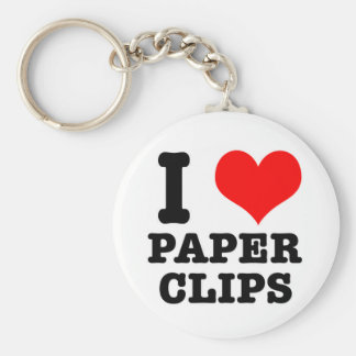 I HEART (LOVE) paper clips Basic Round Button Keychain