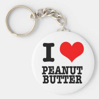 I HEART (LOVE) PEANUT BUTTER BASIC ROUND BUTTON KEYCHAIN