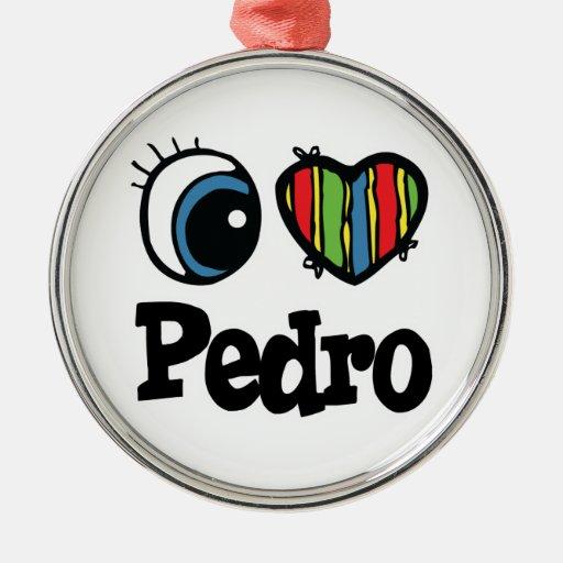 I Heart (Love) Pedro Round Metal Christmas Ornament